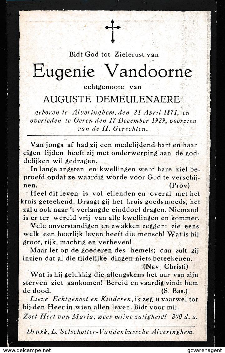 EUGENIE VANDOORNE  ALVERINGHEM  1871    OEREN 1929 - Avvisi Di Necrologio