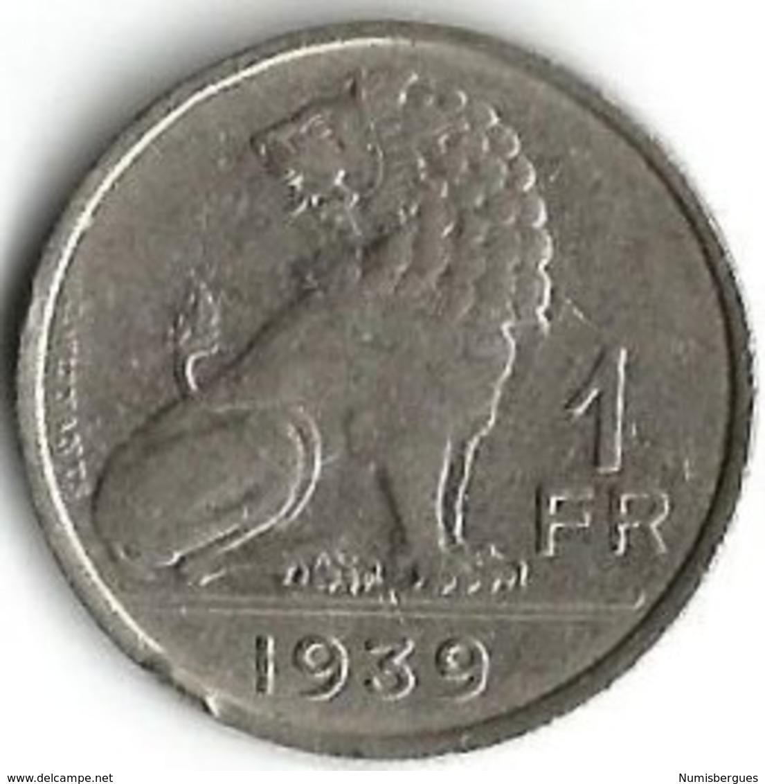 1 Pièce De Monnaie 1 Franc 1939  Belgique  NDL / Fr - 1934-1945: Leopold III