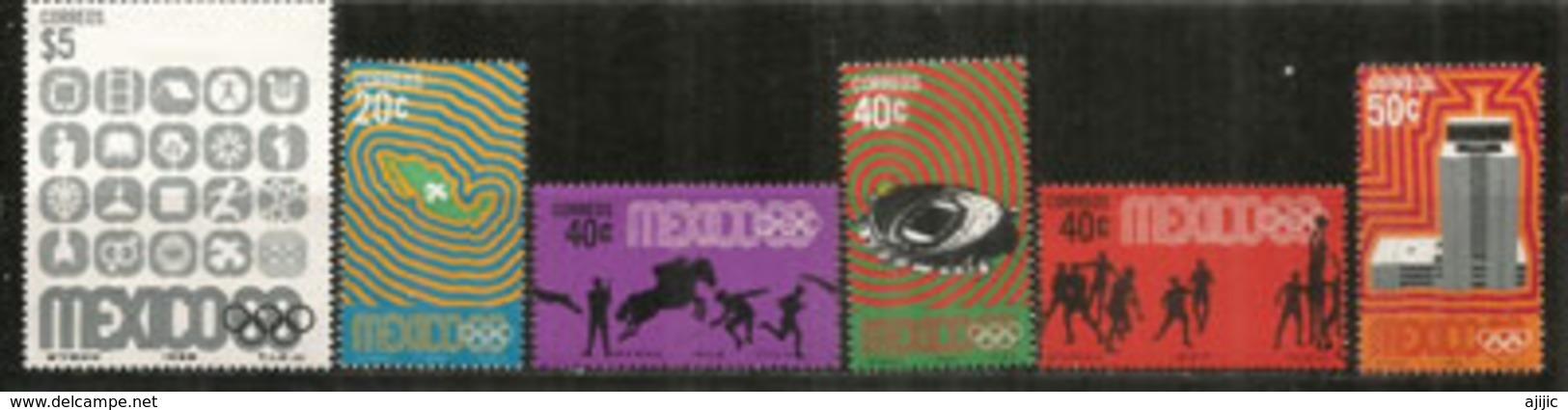 MEXIQUE. Jeux Olympiques De Mexico 1968.  6 Timbres Neufs ** - Zomer 1968: Mexico-City