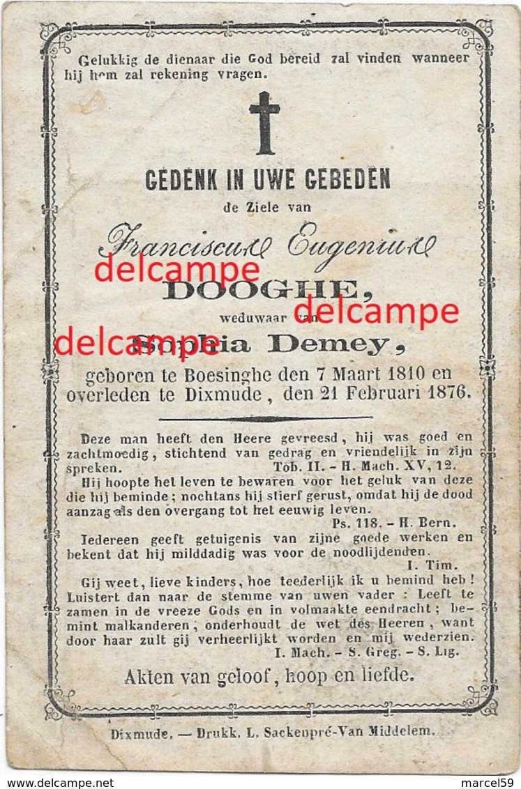 Doodsprentje Frans Dooghe Boezinge 1810 En Overleden Te Diksmuide 1876 Sophia Demey Doodsprentje - Imágenes Religiosas