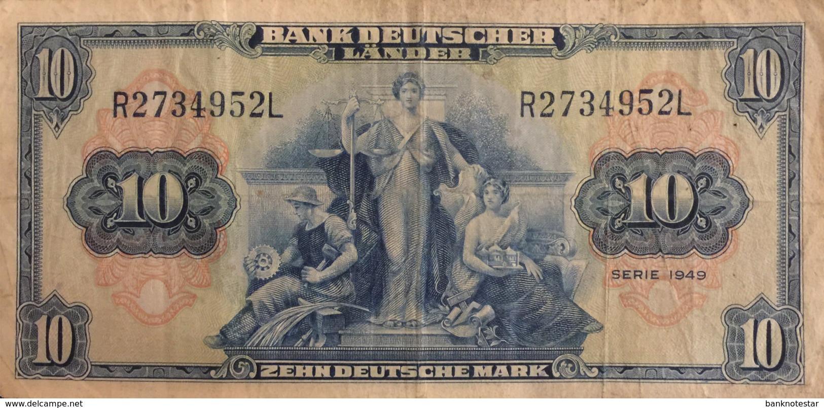 Germany West 10 Deutsche Mark, BRD-4/Ro.258 (Serie R/L) - Fine - [ 7] 1949-… : RFA - Rep. Fed. Tedesca