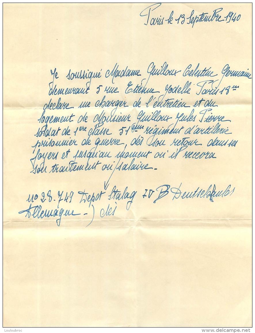 ENGAGEMENT  D'HEBERGEMENT ET D'ENTRETIEN POUR UN PRISONNIER DE GUERRE DU 51em REGIMENT D'ARTILLERIE  09/1940 - 1939-45