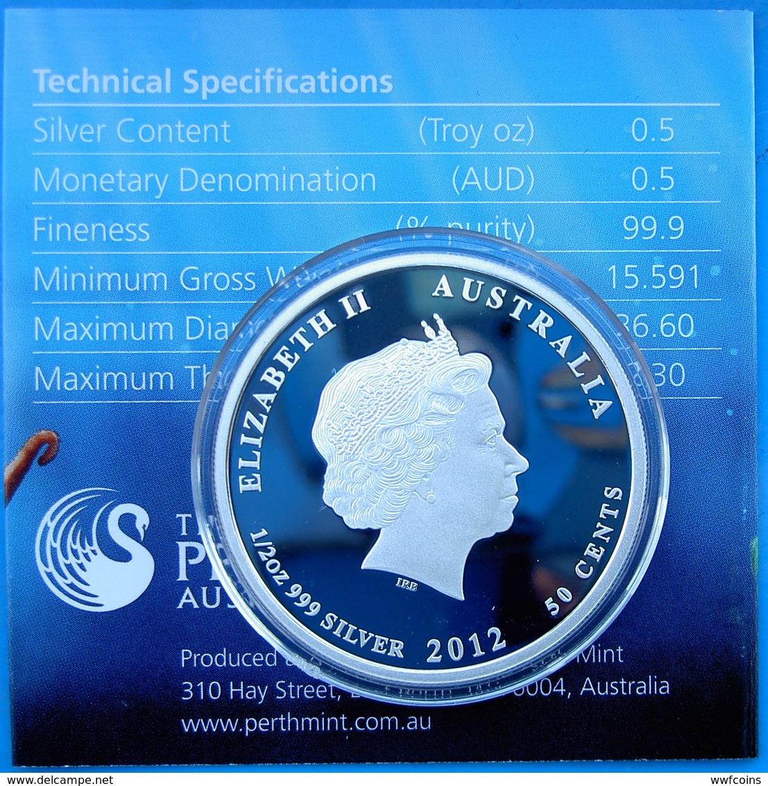AUSTRALIA 50 C 2012 SILVER PROOF WILDLIFE AUSTRALIAN SEA LIFE THE REEF OCTOPUS PESO 15,591 TITOLO 0,999 CONSERVAZIONE PR - Australia