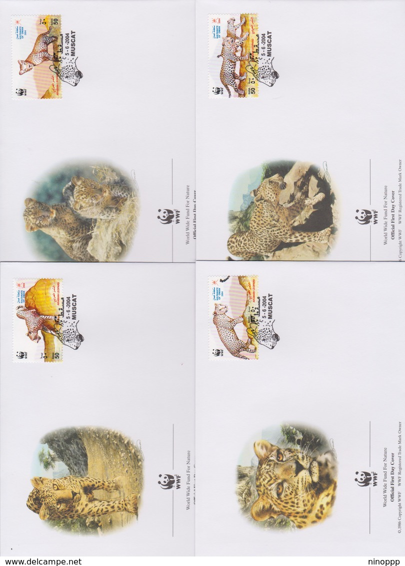 World Wide Fund For Nature 2004 Oman - Arabian Leopard,Set 4 Official First Day Covers - FDC
