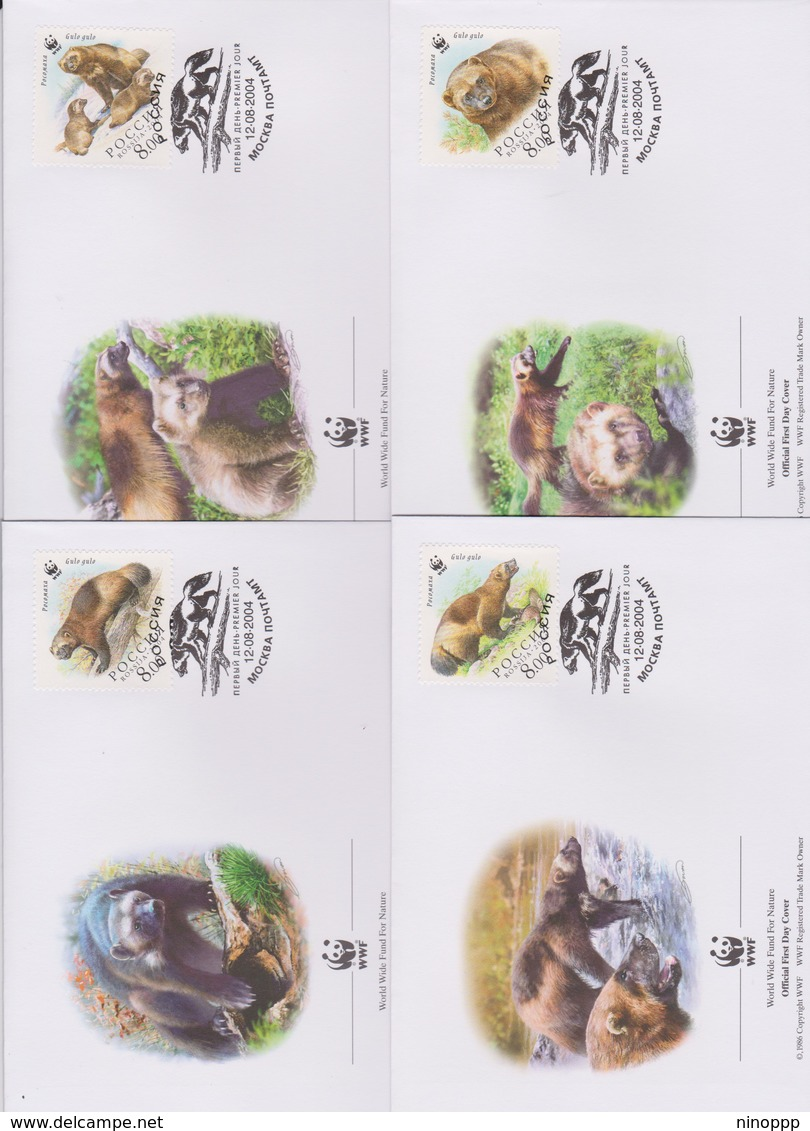 World Wide Fund For Nature 2004 Russia -Wolverine ,Set 4 Official First Day Covers - FDC