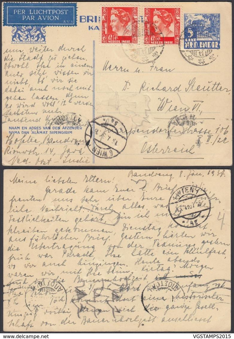 Indes Néerlandaises 1937 - Entier Postal Par Avion De Bandeng Vers Vienne-Autriche Ref. (DD323) DC-MV-323 - Indes Néerlandaises