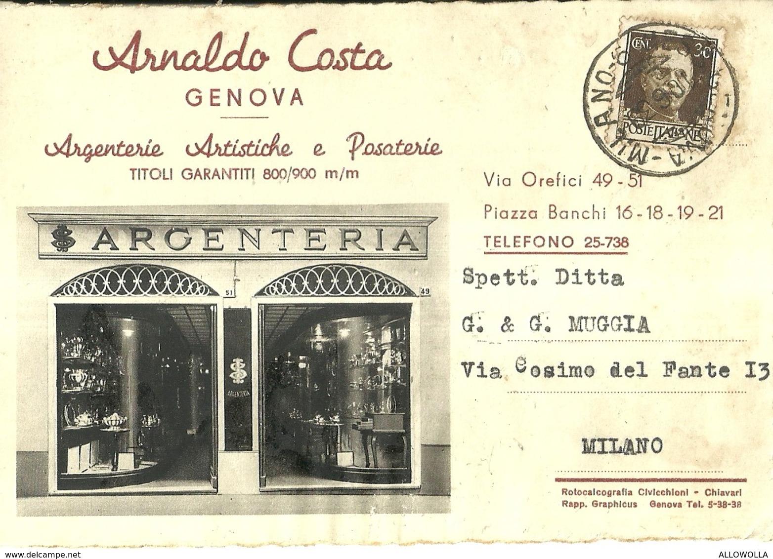 "1432 ""ARNALDO COSTA - GENOVA - ARGENTERIE ARTISTICHE E POSATERIE"" CART. POST. ORIG. SPEDITA - Negozi"