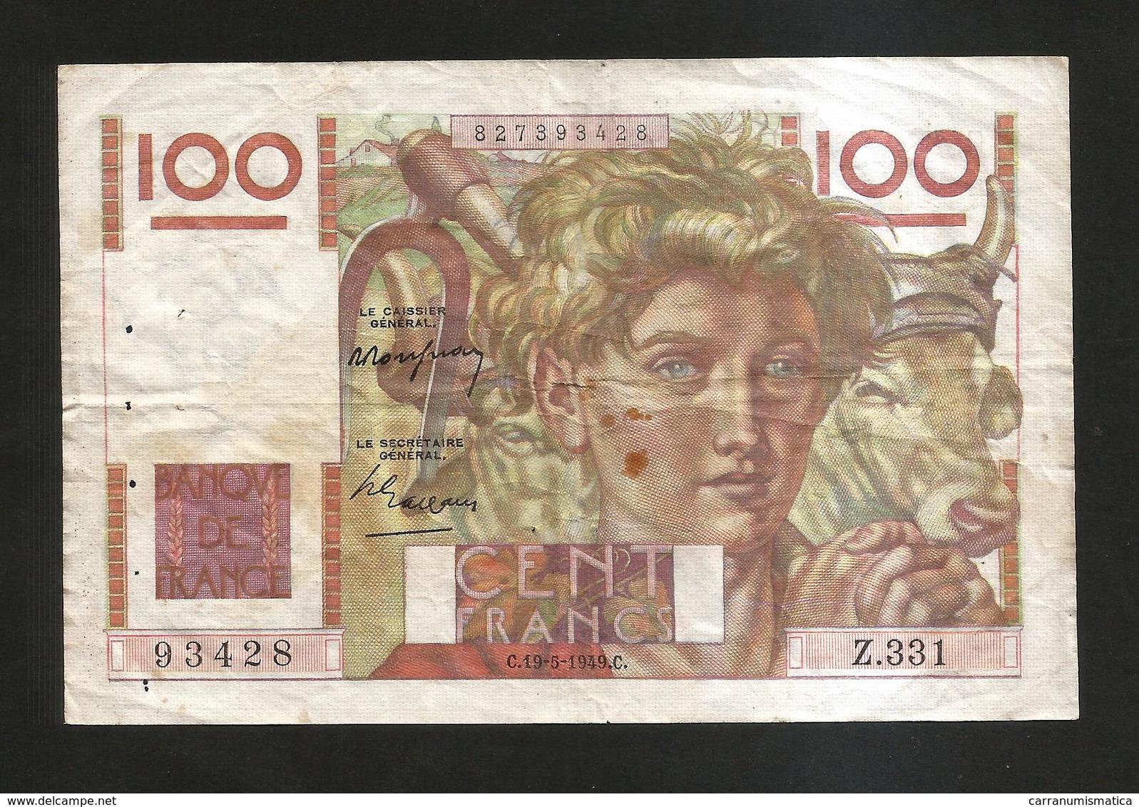 FRANCE - BANQUE De FRANCE - 100 Francs  Jeune Paysan  (C. 19 - 5 - 1949 ) Serie: Z331 - 1871-1952 Antichi Franchi Circolanti Nel XX Secolo