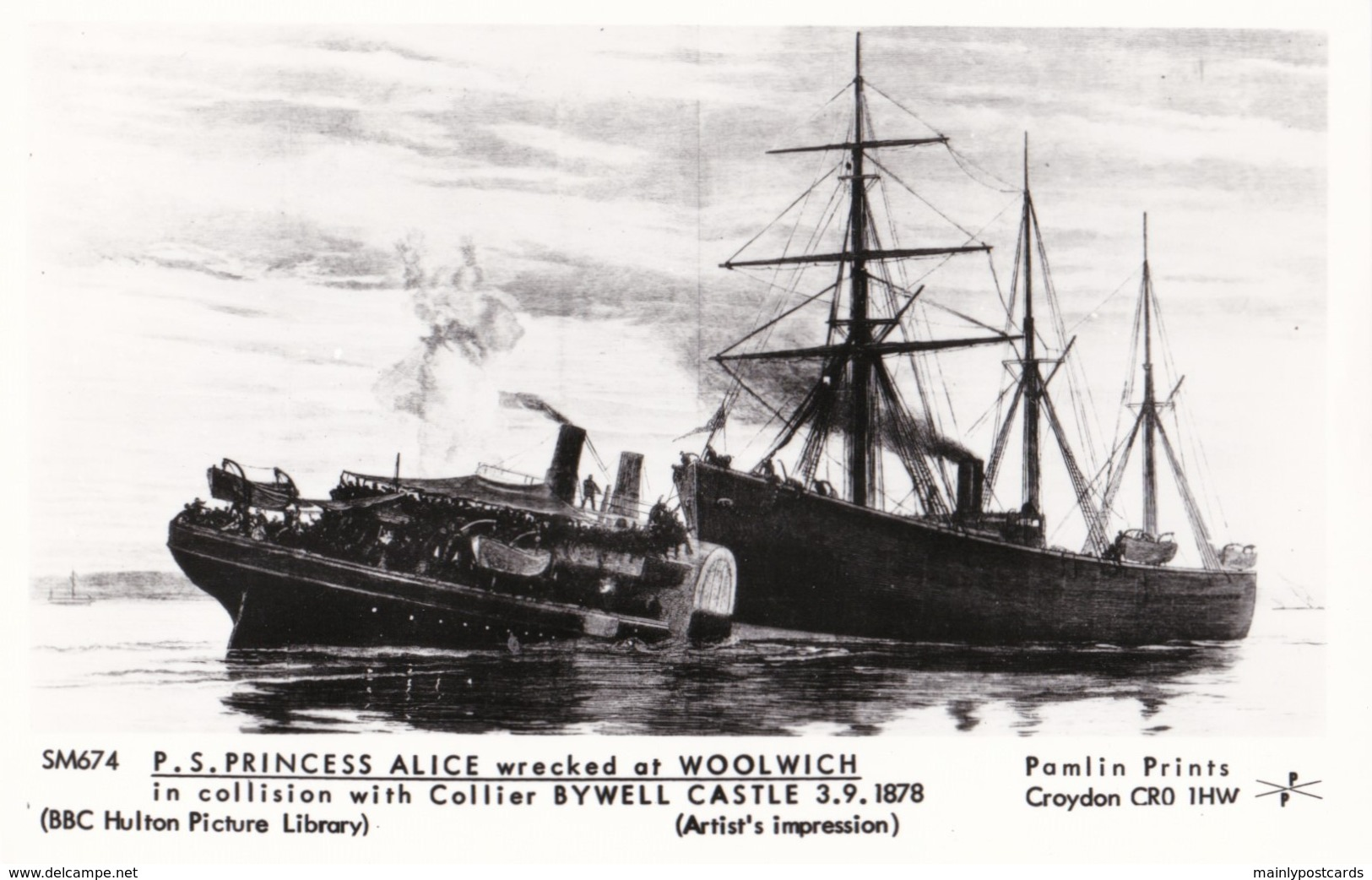 AP17 Shipping - P.S. Princess Alice, Wrecked At Woolwich - Reproduction Postcard - Steamers