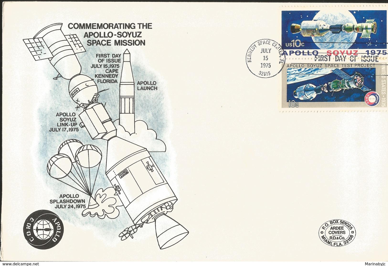 J) 1975 MEXICO, COMMEMORATING THE APOLLO-SOYUZ SPACE MISSION, SATELLITE, PAIR, FDC - Mexico