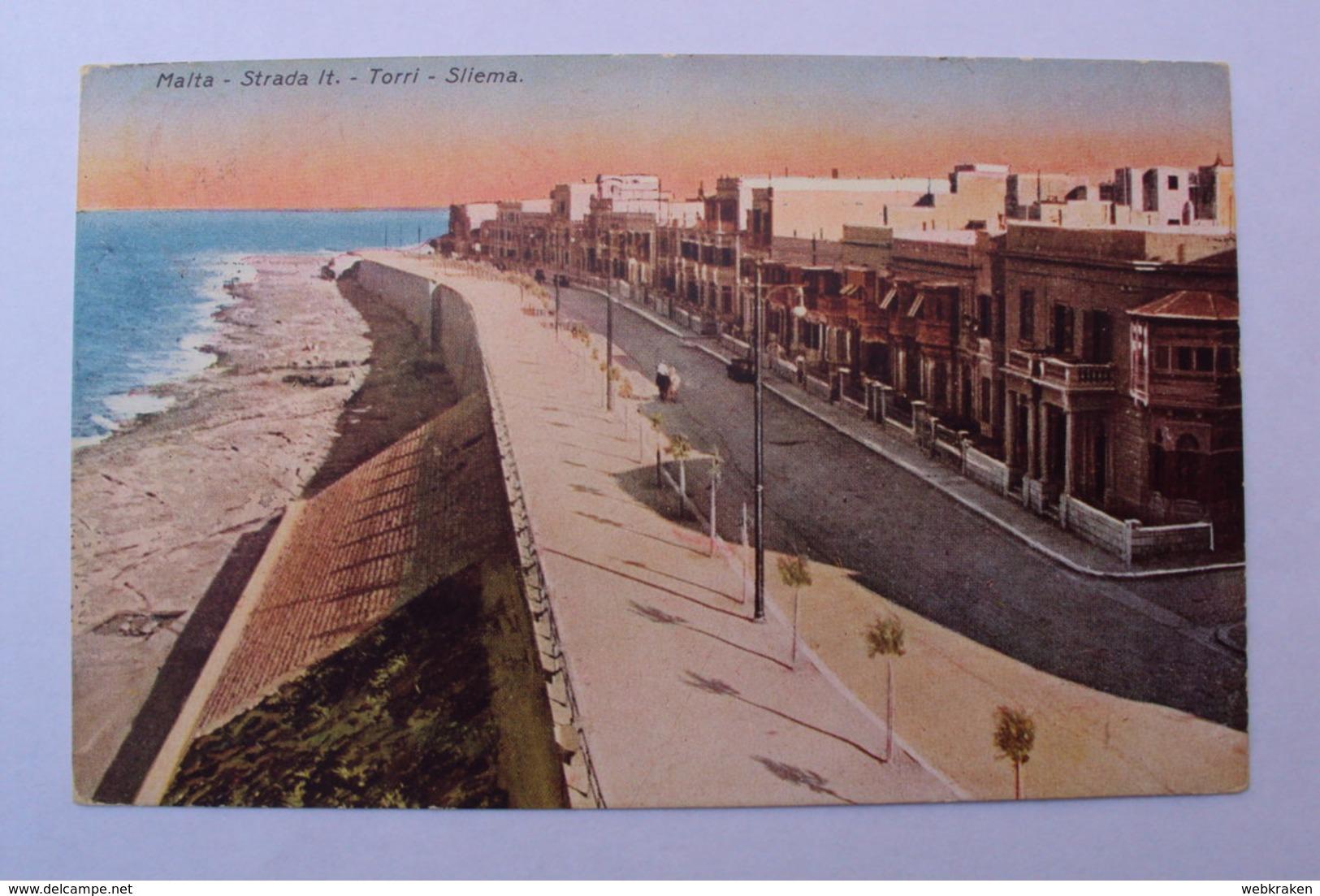 STORIA POSTALE CARTOLINA DA MALTA ANNULLATA A SIRACUSA ITALIA 1930 - Malta