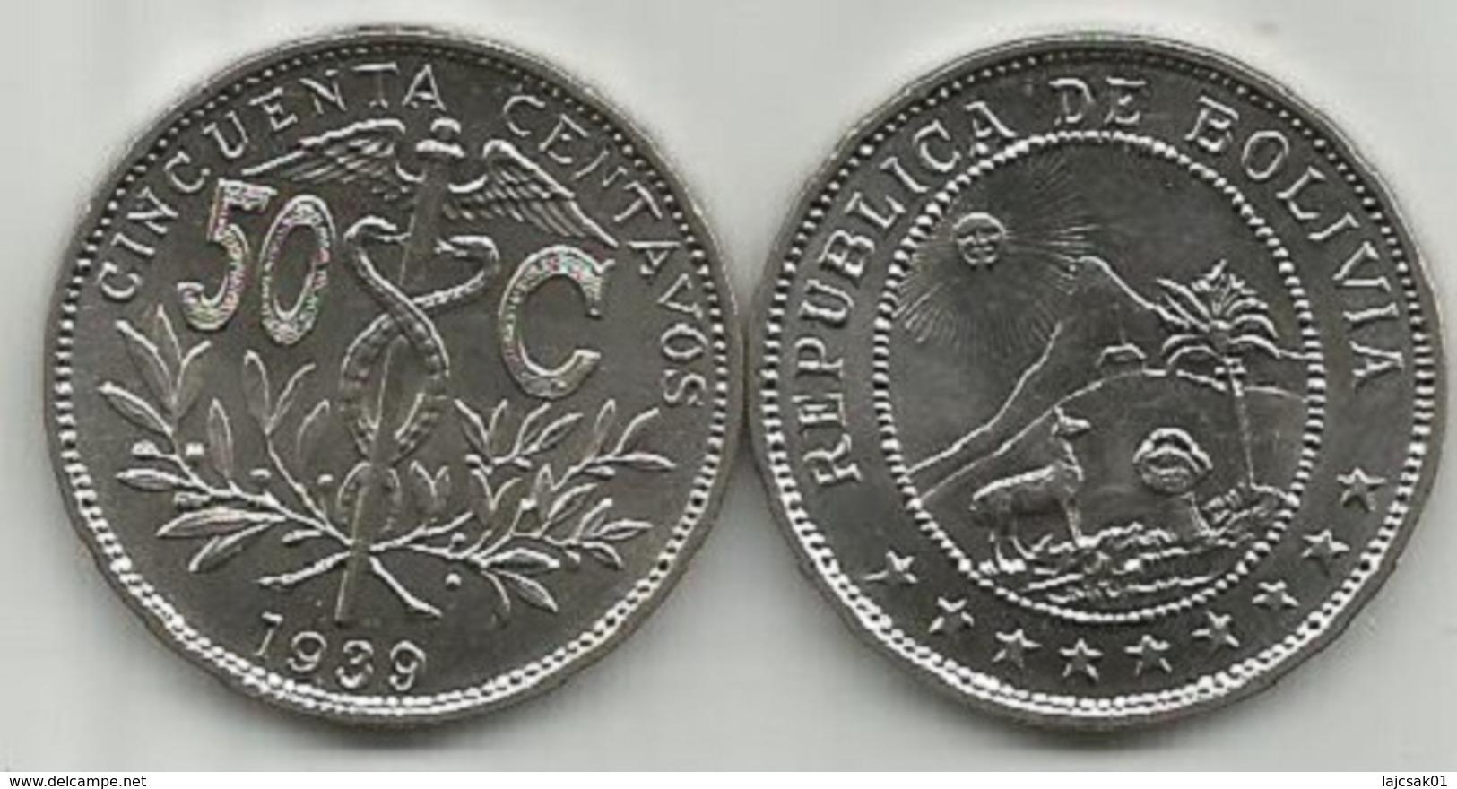 Bolivia 50 Centavos 1939. High Grade - Bolivia