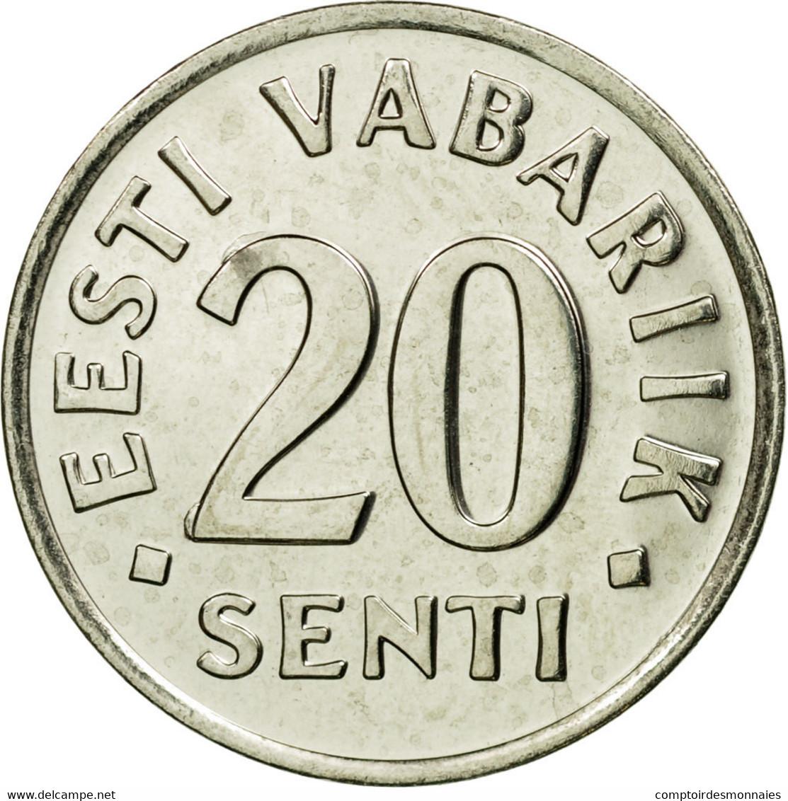 Monnaie, Estonia, 20 Senti, 2003, No Mint, TTB, Nickel Plated Steel, KM:23a - Estonie