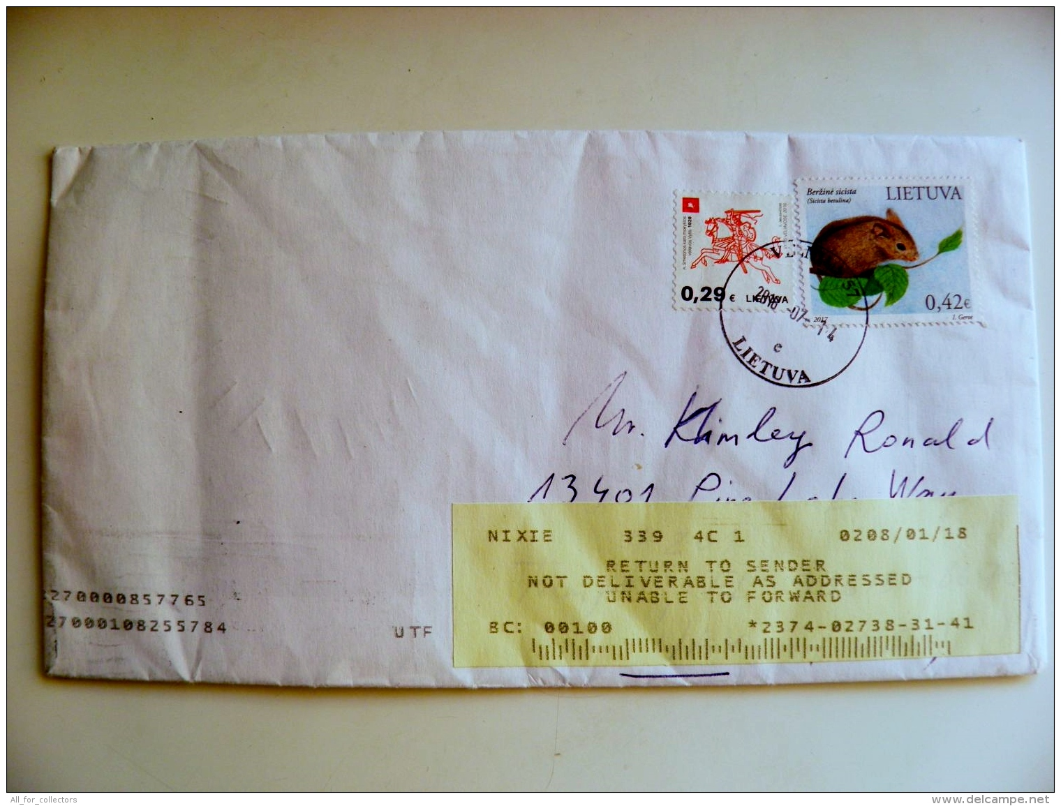 Cover Sent From Lithuania Vilnius To USA And Returned Back Label, Animal Rodent - Lithuania