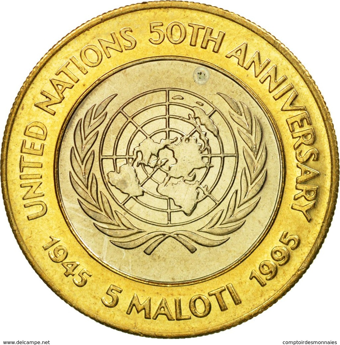 Monnaie, Lesotho, Moshoeshoe II, 50th Anniversary Of The United Nations, 5 - Lesotho