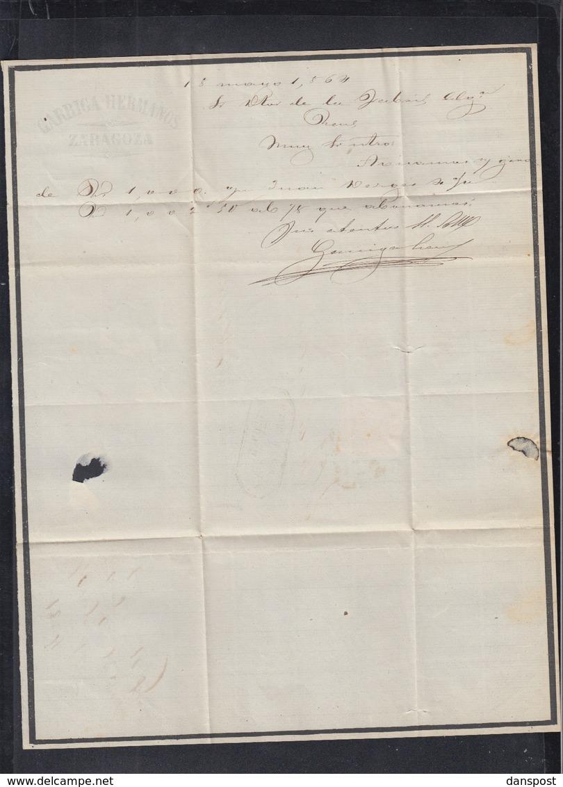 Spanien Espana Faltbrief 1864 Zaragoza Nach Reus - 1850-68 Königreich: Isabella II.