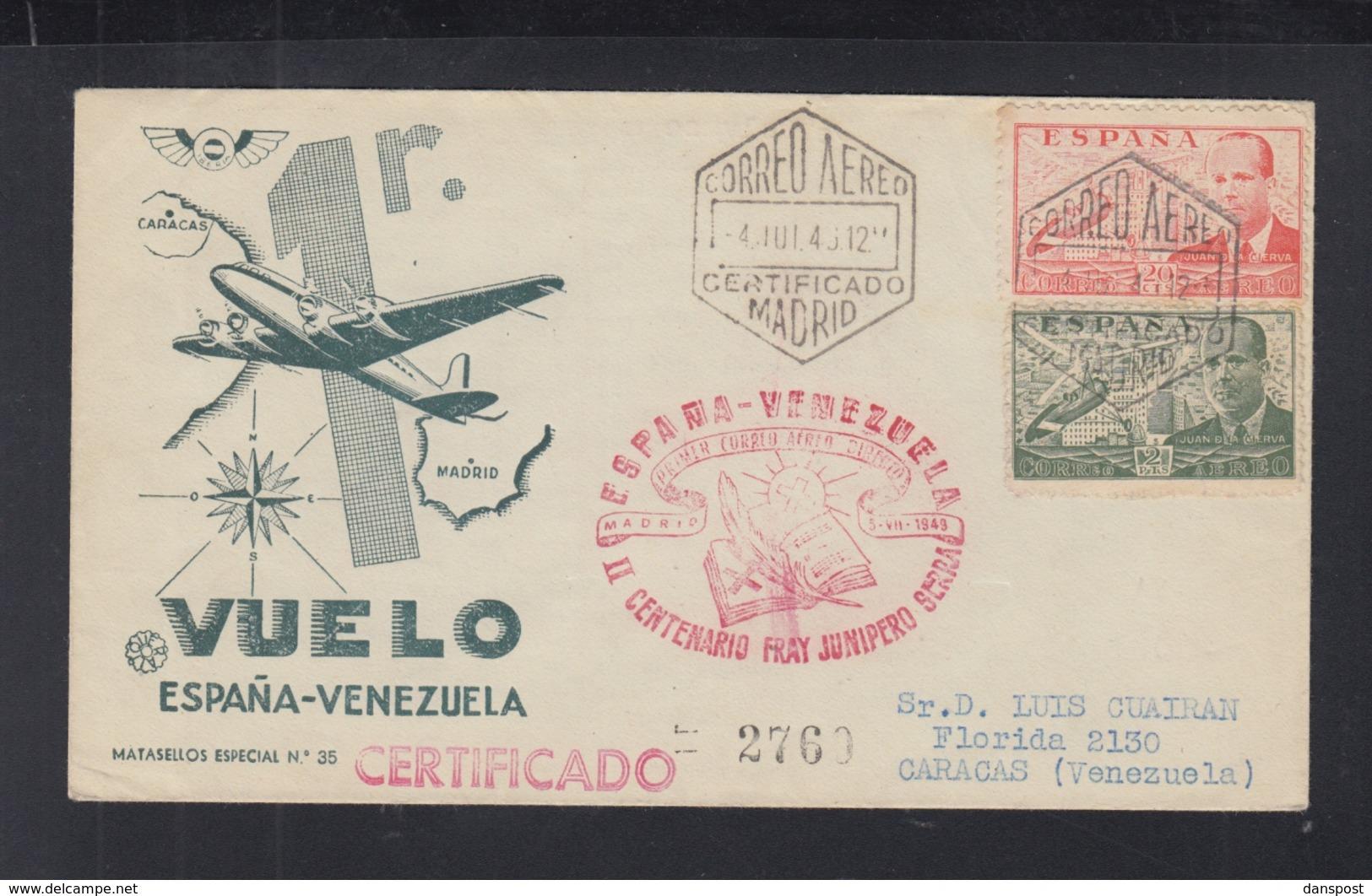 Spanien Espana 1. Flug Nach Venezuela - Luftpost