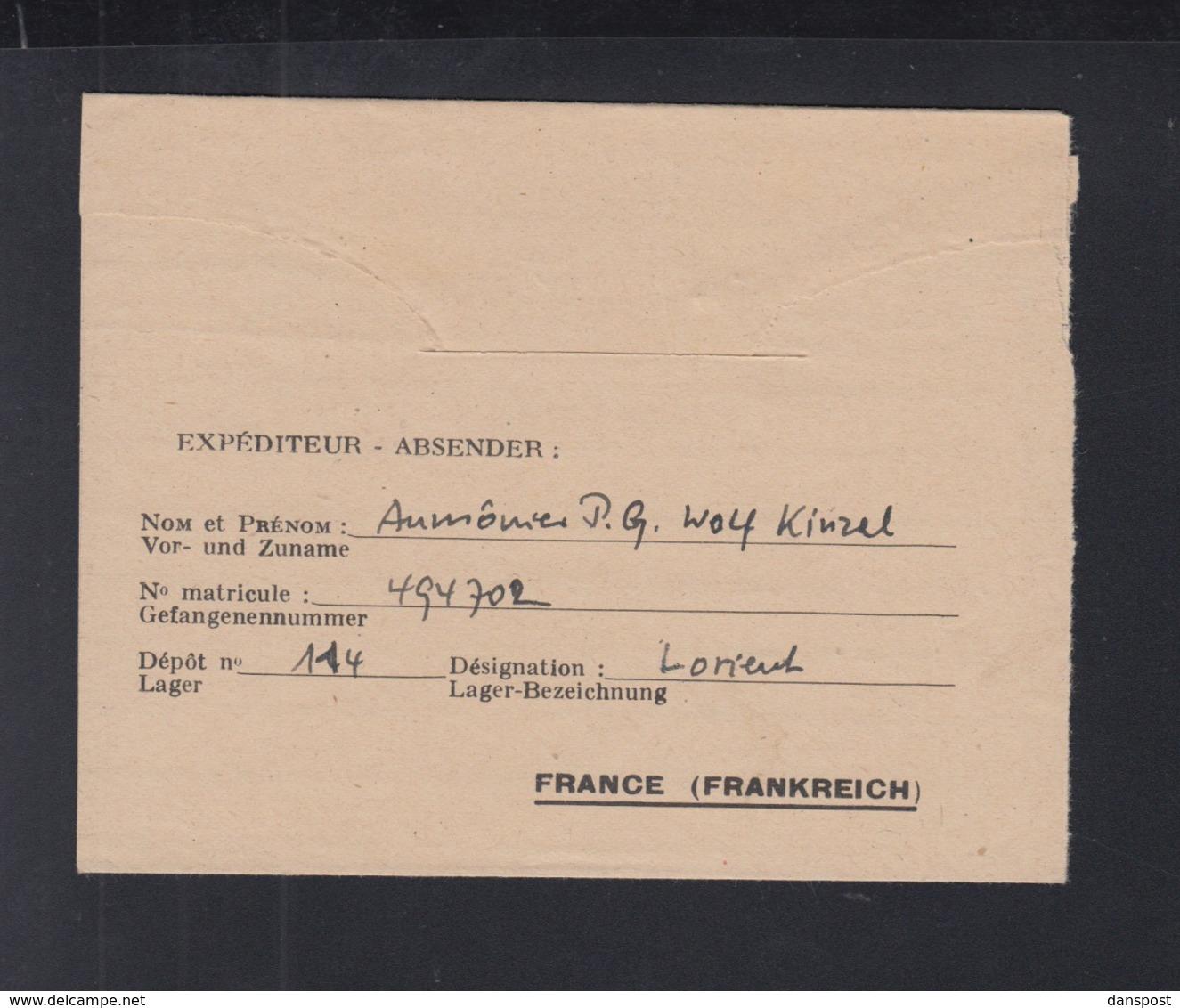 Correspondence Prisonniers De Guerre Lettre Lorient 1947 - Poststempel (Briefe)