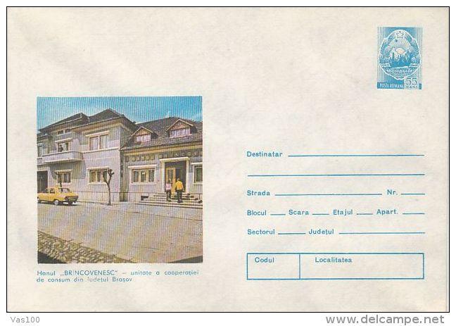 TOURISM, BRANCOVEANU INN, CAR, COVER STATIONERY, ENTIER POSTAL, 1979, ROMANIA - Holidays & Tourism