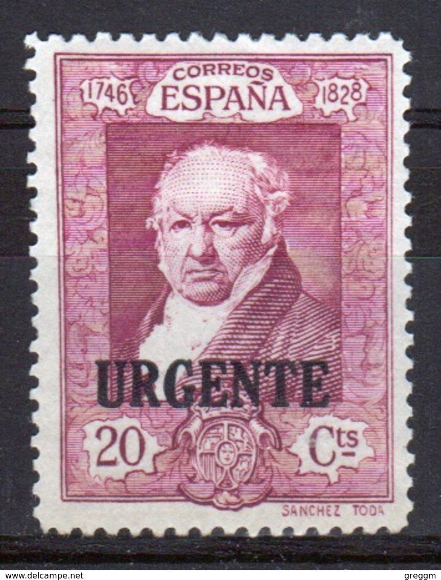 Spain 1930 Twenty Cent Purple Single Stamp Overprinted With The Word Urgente. - Ungebraucht