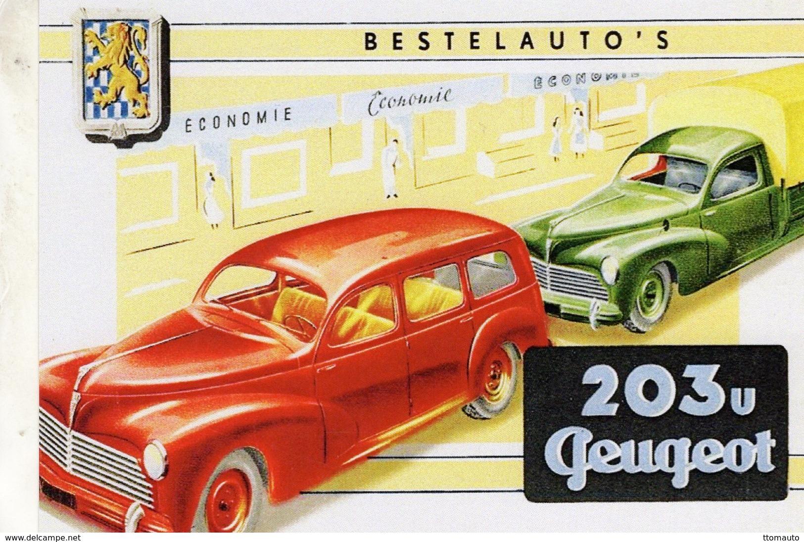 Peugeot 203 U  -  1954  -  Publicité  -  Carte Postale Reproduction (CPR) - Voitures De Tourisme