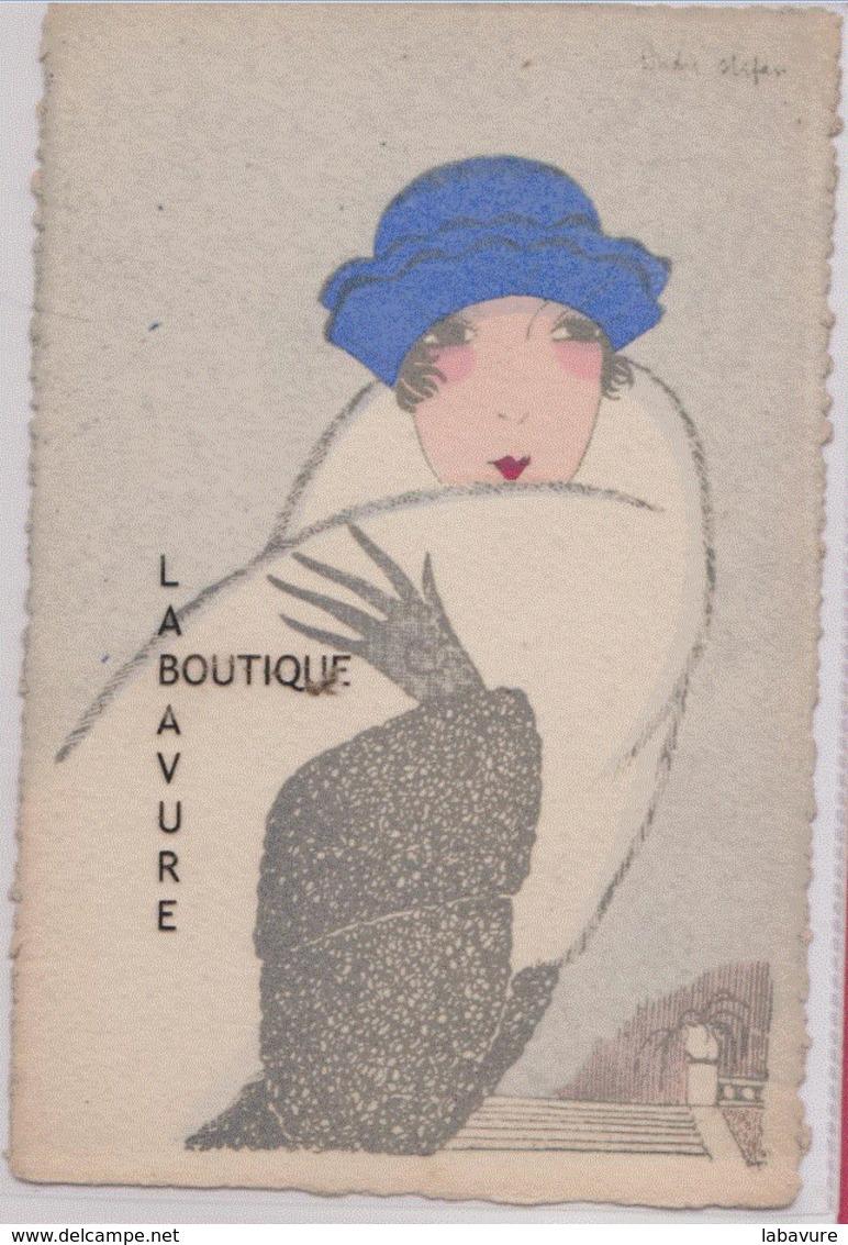 ILLUSTRATEUR---André STEFAN--Jeune Femme Au Chapeau Bleu---peu Courante - Illustrateurs & Photographes