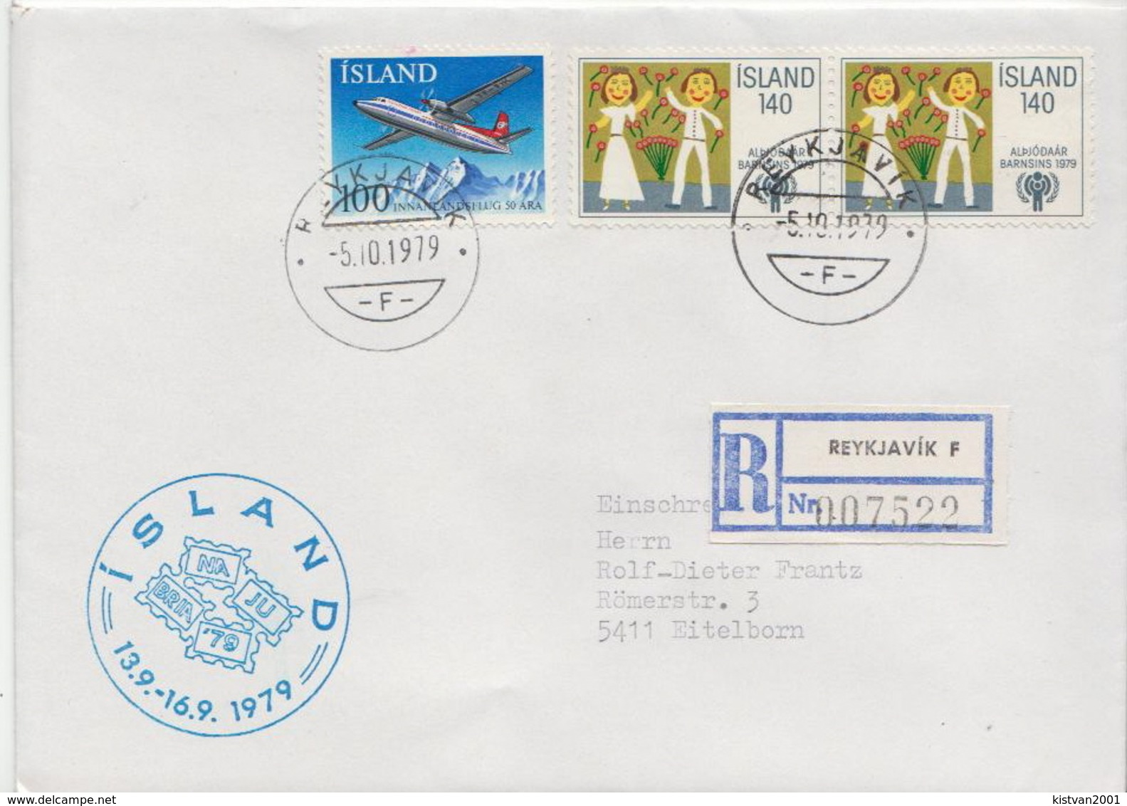 Postal History Cover: Iceland R Cover IYC Stamps - Volcanos