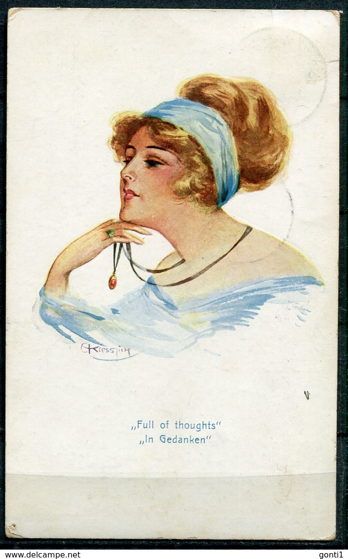 "CPA Signierte ASCO Color Künstlerkarte 1913 ""Full Of Thoughts-In Gedanken""1 AK Bef. - Pin-Ups"
