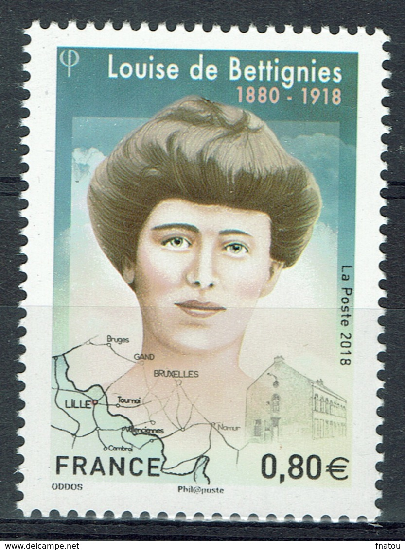 France, Louise De Bettignies, French Secret Agent, World War I, 2018, MNH VF - Francia
