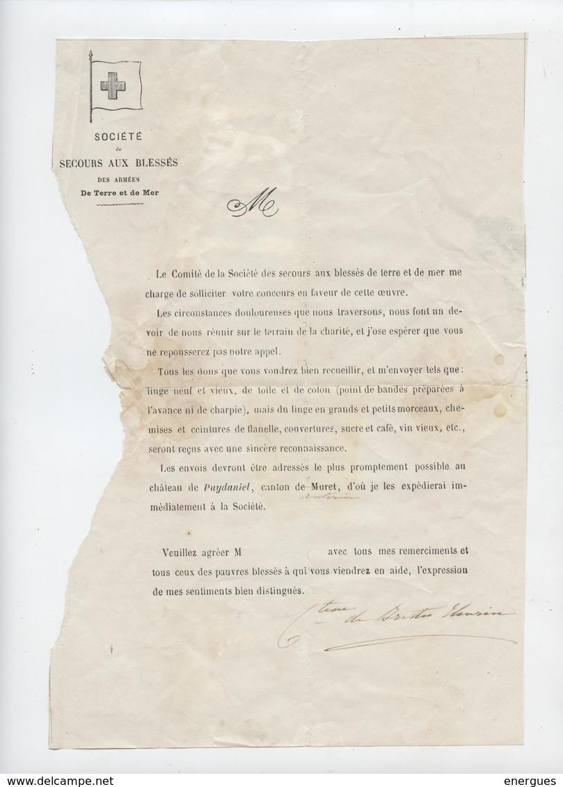 Puydaniel, Muret, Société Secours Aux Blessés, Des Armées,Guerre De 1870 Ou De 14? Comtesse De Brettes Eleusine - Documents
