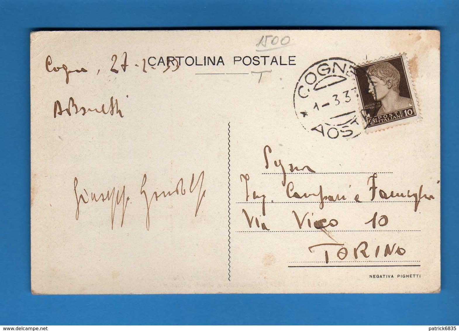 Valle D'Aosta - Cogne - PANORAMA E SFONDO GHIACCIAI.   Viaggiata. 1933.  Vedi Descrizione - Italia
