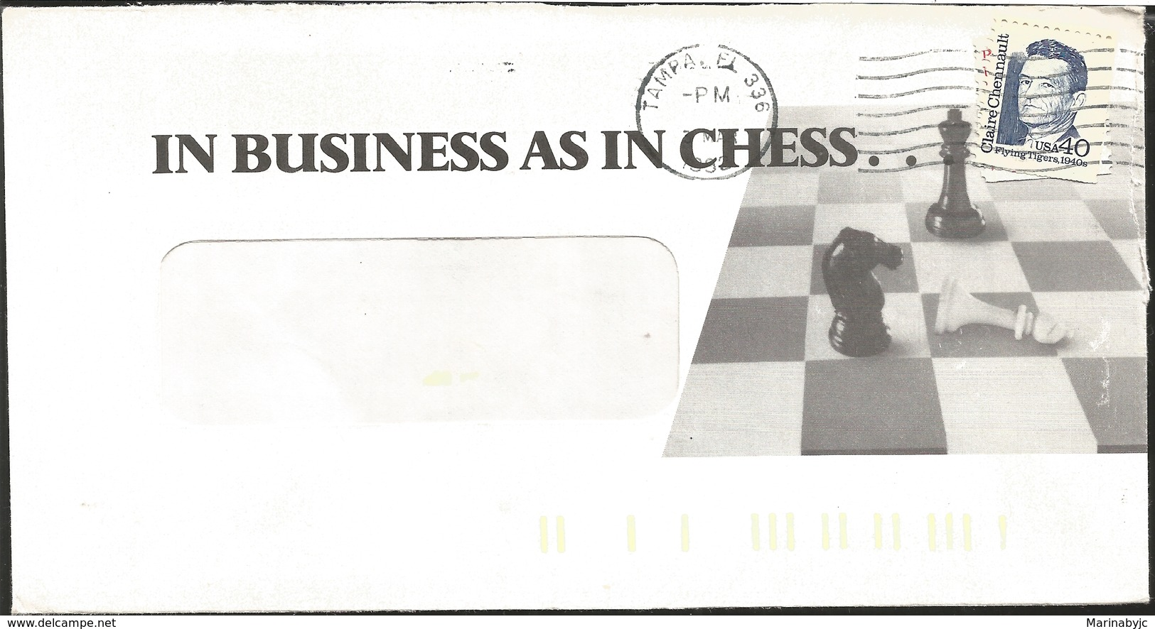 J) 1940 UNITED STATES, IN BUSINESS AS IN CHESS, CLAIRE CHENNAULT, FLIYING TIGERS, STAMP ON STAMP, WITH SLOGAN CANCELLATI - Stati Uniti