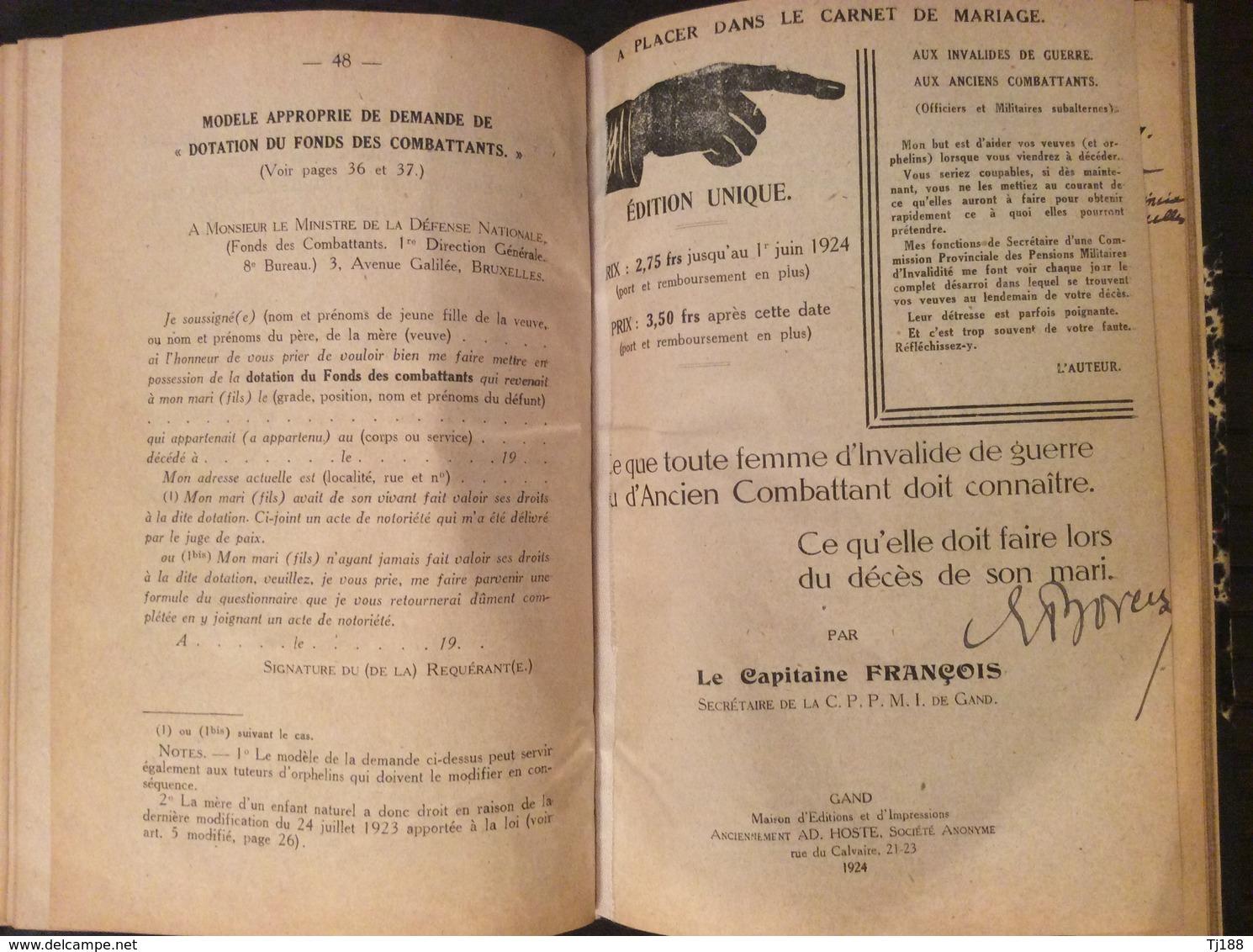FRANCOIS - Pensions D'invalidité 1924 - Français