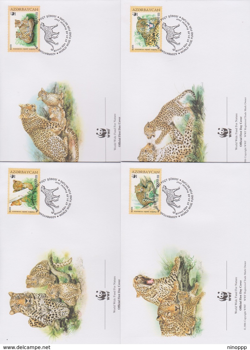 World Wide Fund For Nature 2005 Azerbaijan- Caucasian Leopard,Set 4 Official First Day Covers - FDC