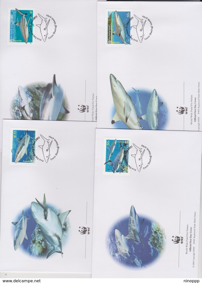 World Wide Fund For Nature 2005 Cocos (Keeling) Islands -Reef Sharks ,Set 4 Official First Day Covers - FDC