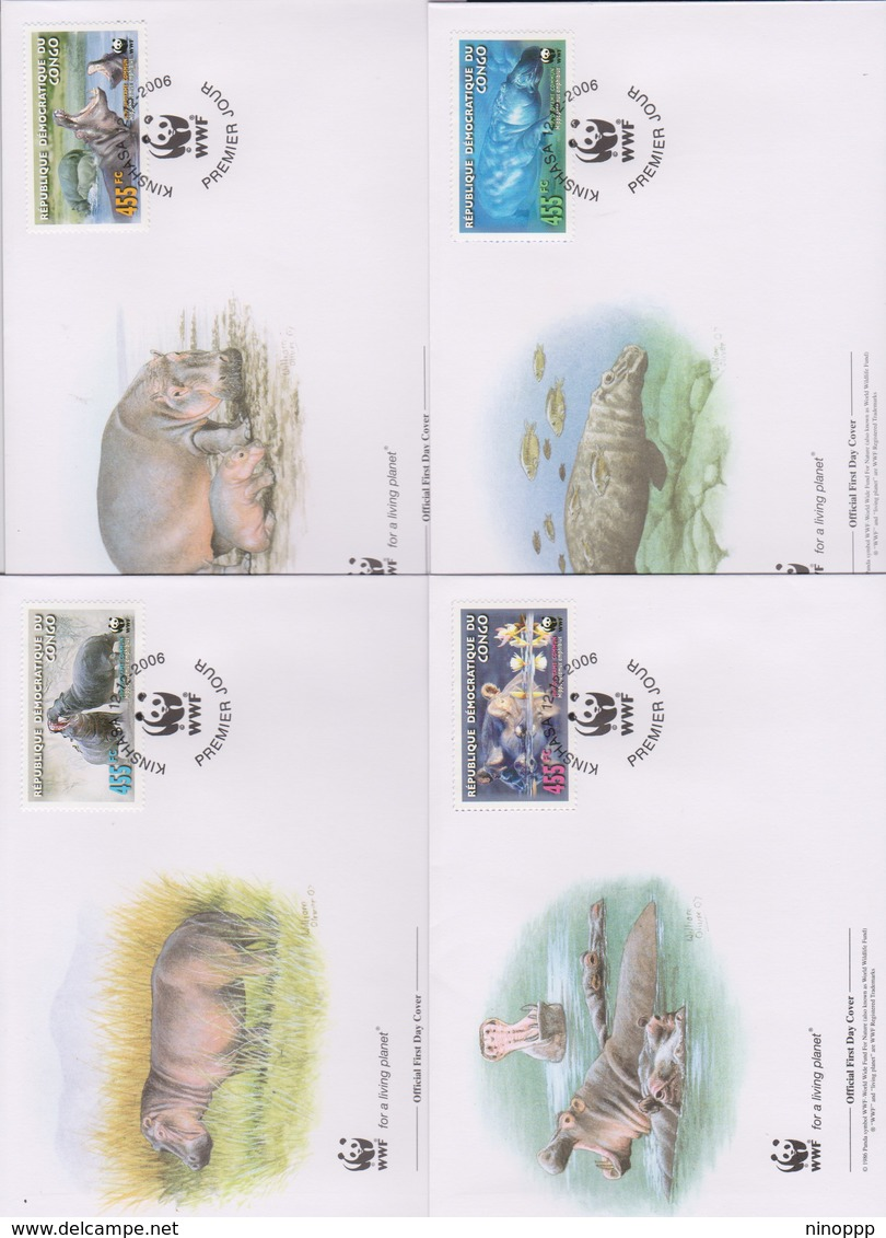 World Wide Fund For Nature 2006 Congo- Common Hippopotamus ,Set 4 Official First Day Covers - FDC