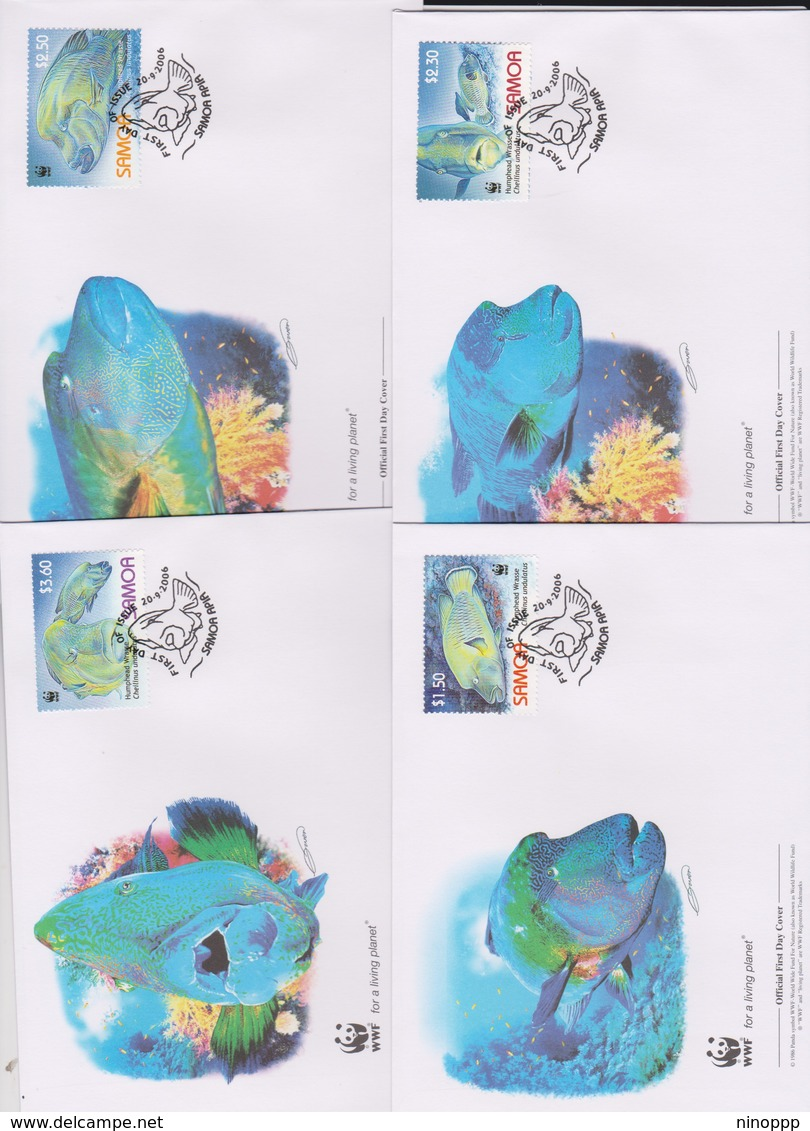 World Wide Fund For Nature 2006 Samoa-Humpback Wrasse ,Set 4 Official First Day Covers - FDC