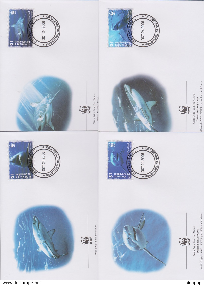 World Wide Fund For Nature 2006 St Vincent Grenadines - Great White  Shark ,Set 4 Official First Day Covers - FDC