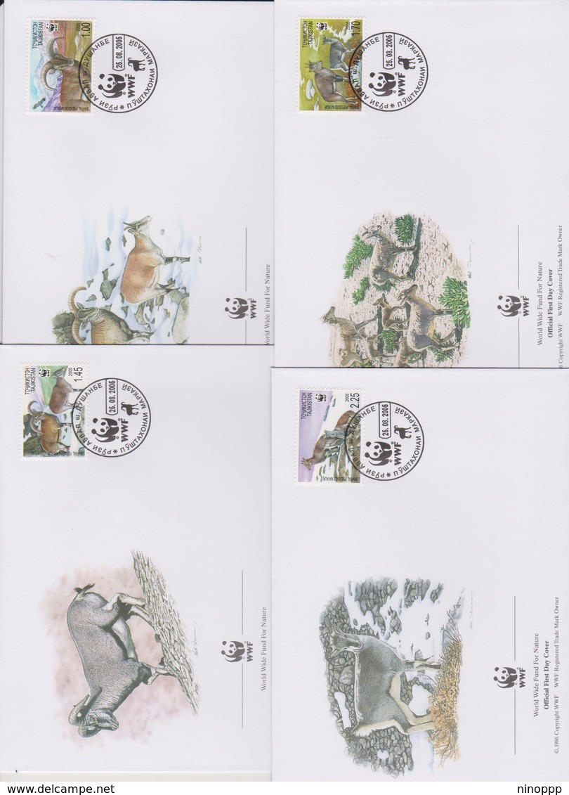 World Wide Fund For Nature 2006 Tajikistan-Bharal,Set 4 Official First Day Covers - FDC