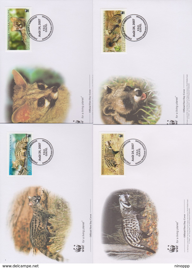 World Wide Fund For Nature 2007 Central African Republic-African Civet And Common Genet ,Set 4 Official First Day Covers - FDC