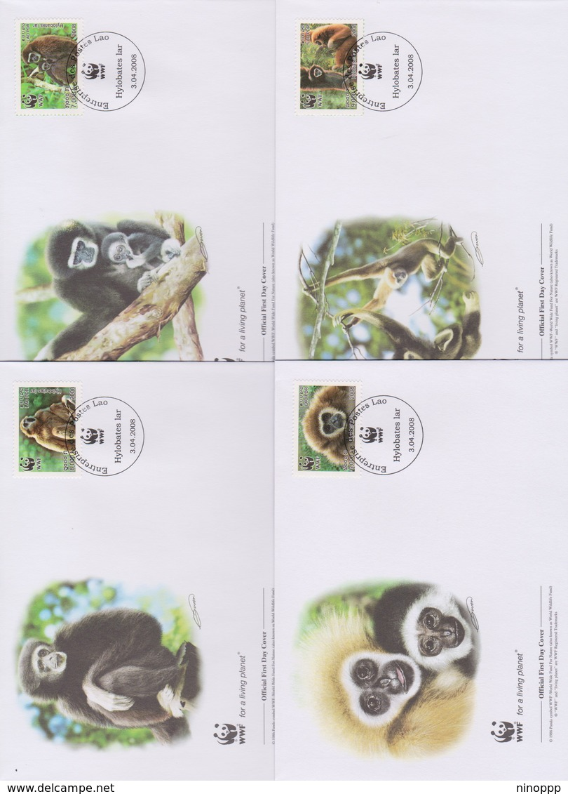 World Wide Fund For Nature 2008 Laos -Hylobates Lar ,Set 4 Official First Day Covers - FDC