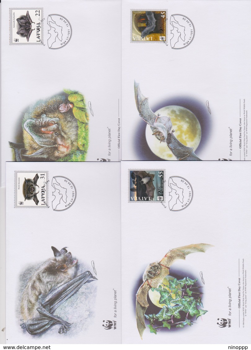 World Wide Fund For Nature 2008 Latvia-pond Bat ,Set 4 Official First Day Covers - FDC