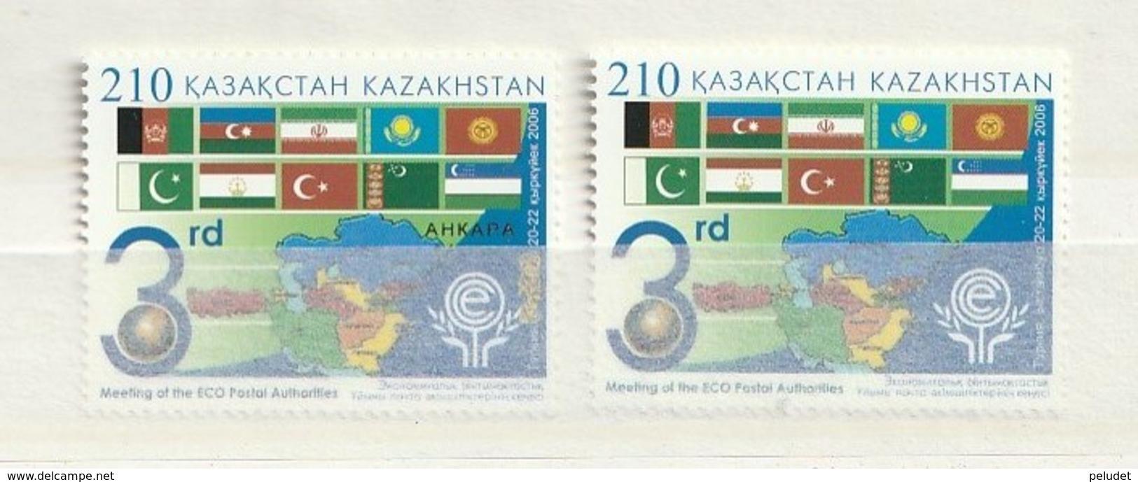 Kazakhstan 2006 ECO Post Auth.-Map (1) UM (sello De La Derecha) - Kazajstán