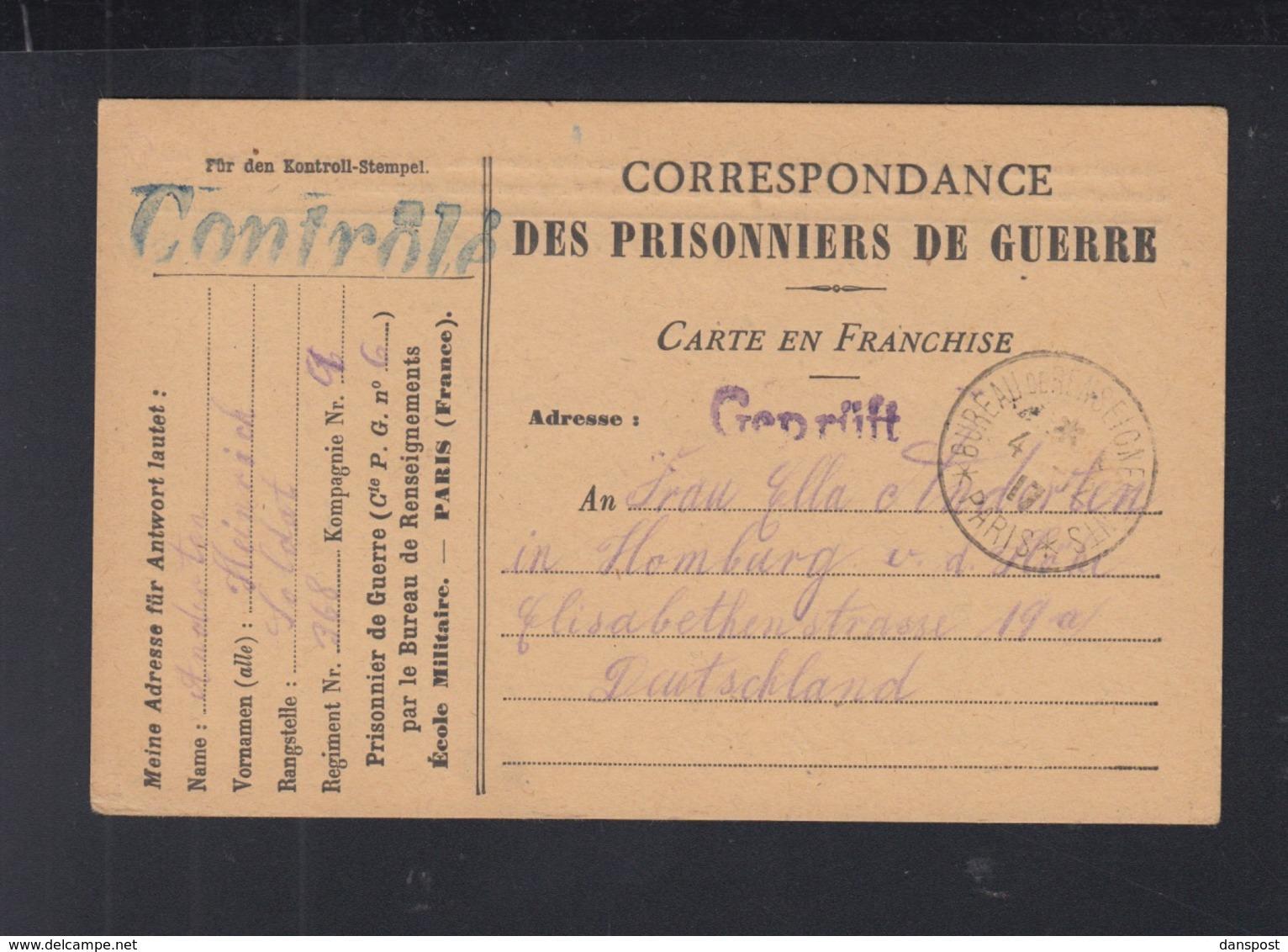Kriegsgefangenen PK 1917 Ecole Militaire Geprüft - Poststempel (Briefe)