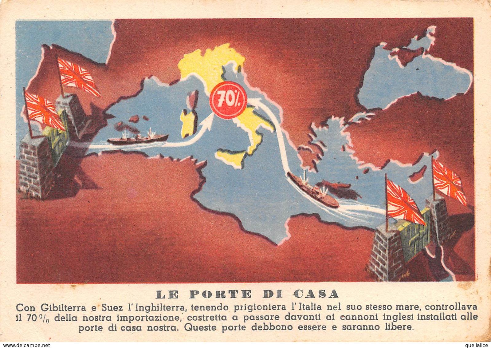 """0529 """"LE RAGIONI DELLA NOSTRA GUERRA - LE PORTE DI CASA"""" ANIMATA. CART  SPED 1942 - Militaria"""