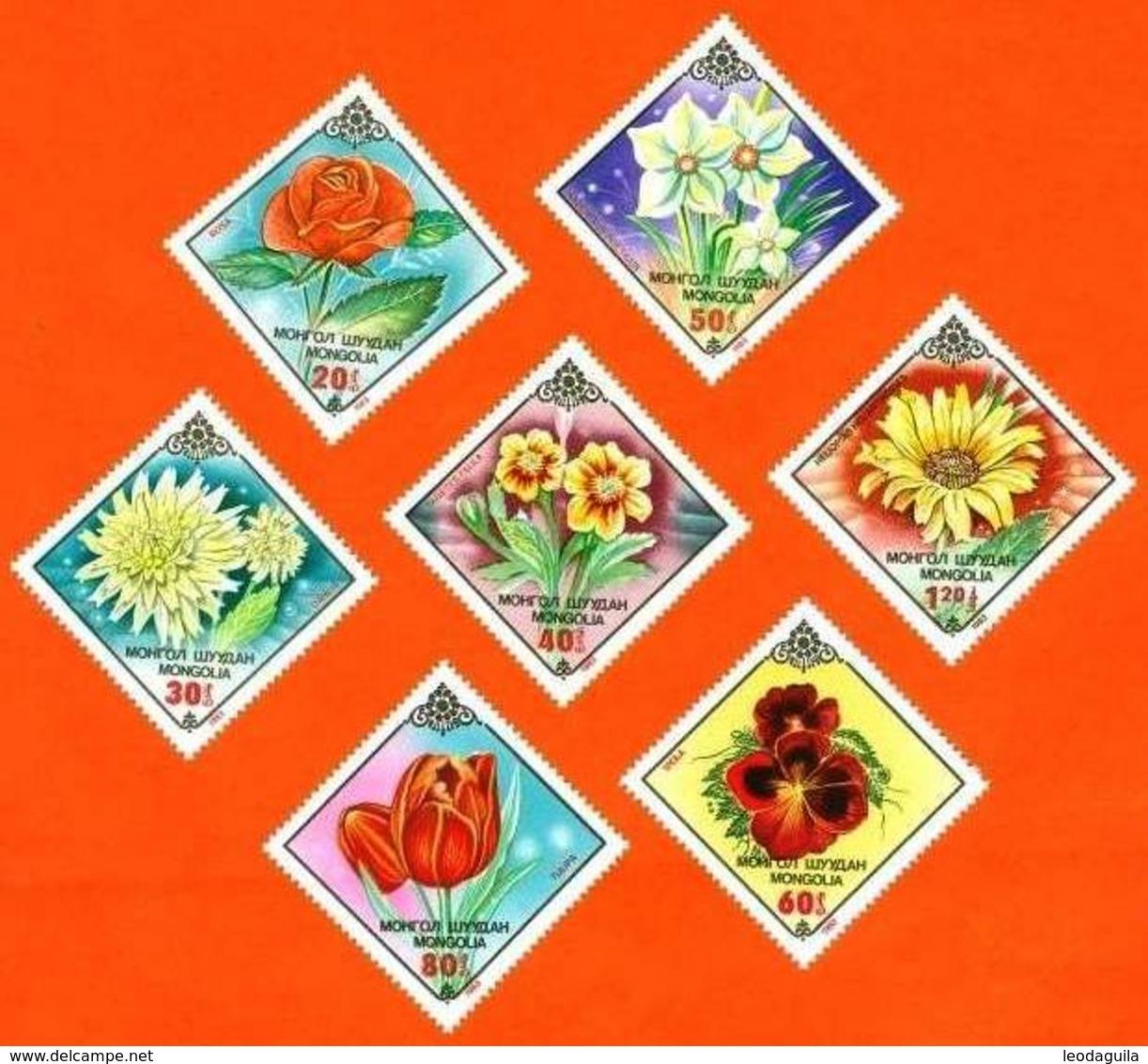 MONGOLIA #1560-6   FLOWERS  -  7v   1983 - Mongolia