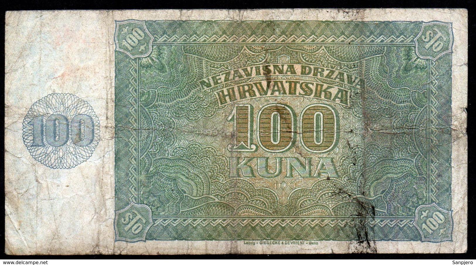 CROATIA NDH 1941. 100 Kuna / WAR BANKNOTE - Croatie