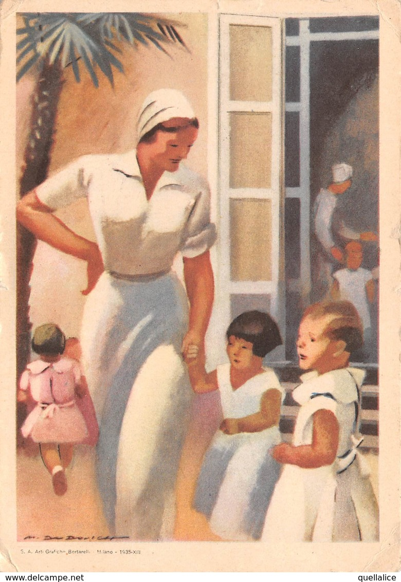 "0561 ""UNA CAREZZA, UN SORRISO - FEDERAZ. ITAL. NAZ. FASCISTA LOTTA TUBERCOLOSI"" ANIMATA, ILLUSTR.DUDOVIH. CART SPED 1936 - Illustrateurs & Photographes"