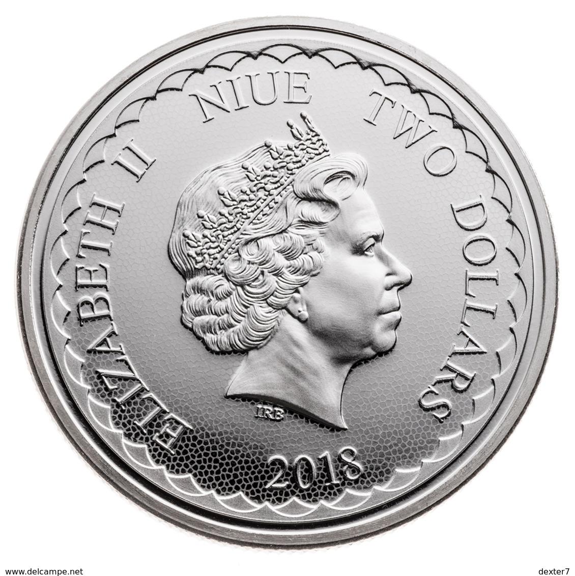 Niue, Two Dragons 1 Oz 2018 Silver 999 - 1 Oncia Argento Puro Bullion 2 Draghi - Niue