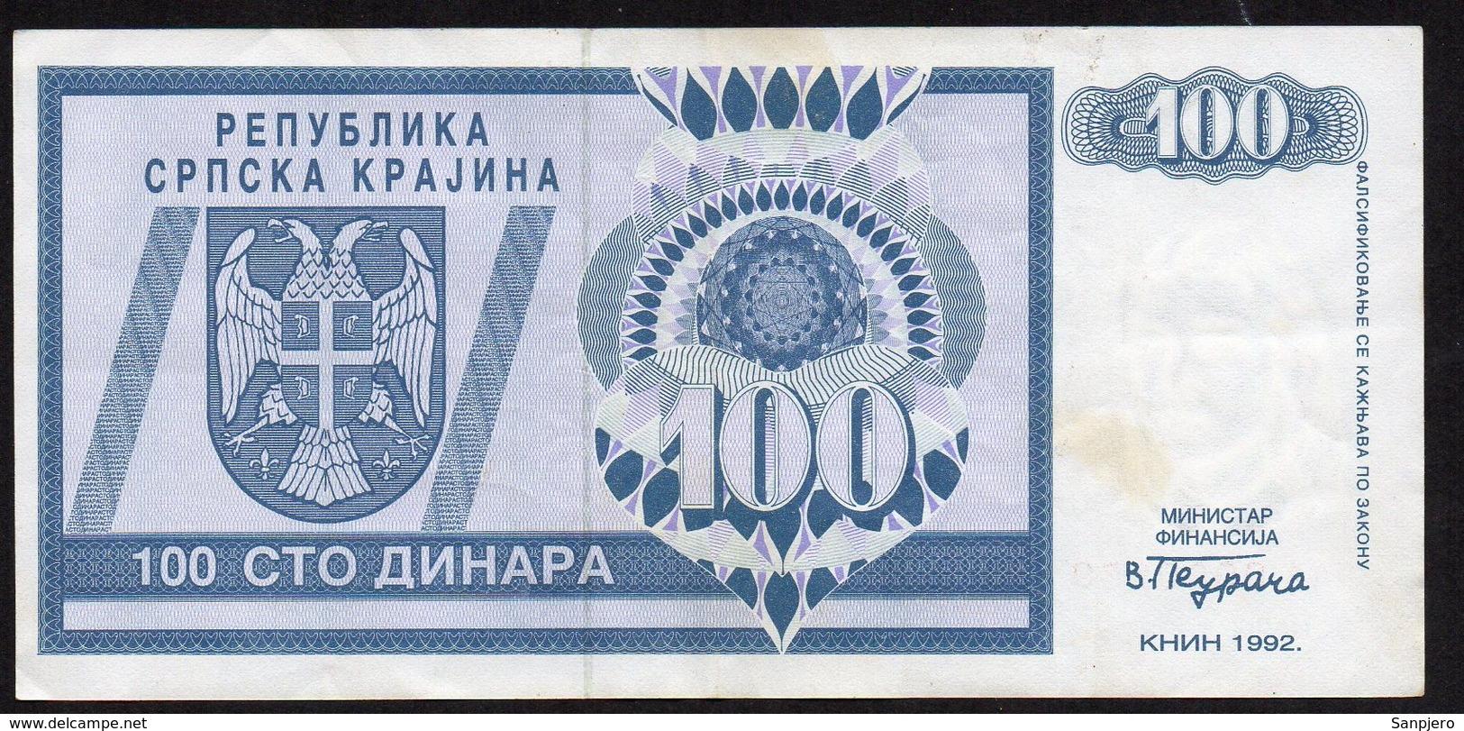CROATIA OCUPATION 1992. SRPSKA KRAJINA 100 Dinara - Croatie